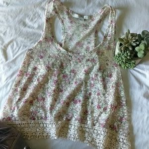 XXI Forever 21 lace floral croptop racer back tank
